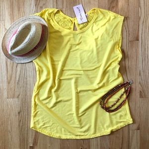 Yellow Solid Top with Crochet Lace Back 2X